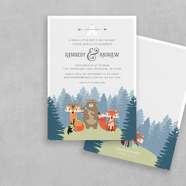 tribal boy baby shower invitation