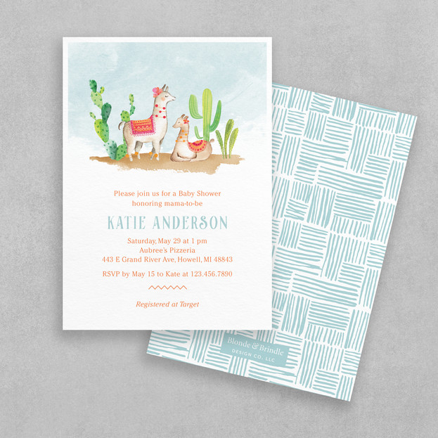 Mexican fiesta cactus baby shower invitation with llamas