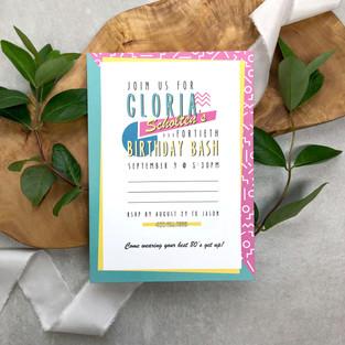 80's themed birthday party invitation