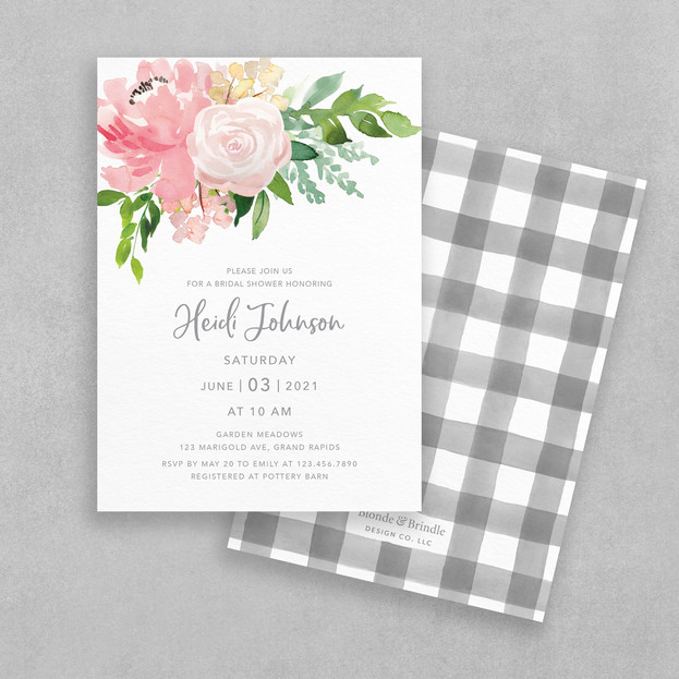 blush bridal shower invitation with pink flowers