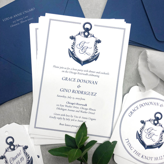 nautical yacht party invitation featuring an anchor crest