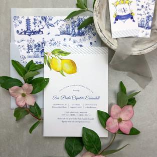 Lemons and chinoiserie bridal shower invitations
