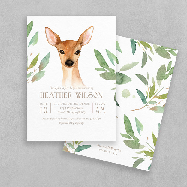 rustic deer baby shower invitation