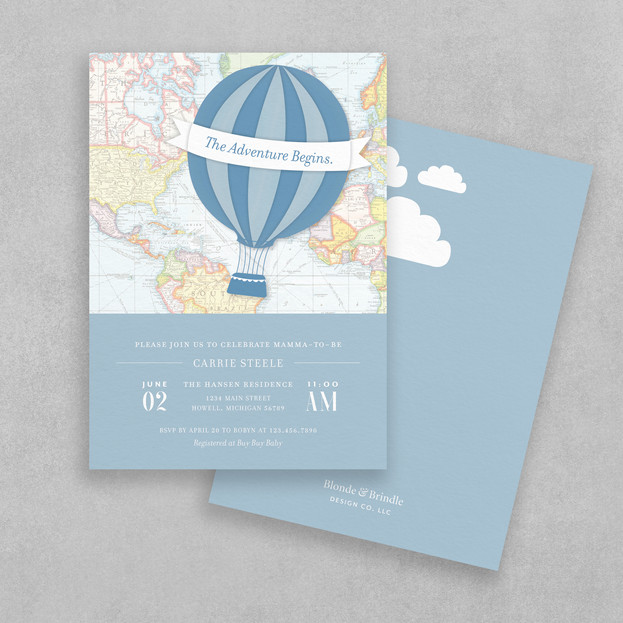 hotair balloon baby shower invitation