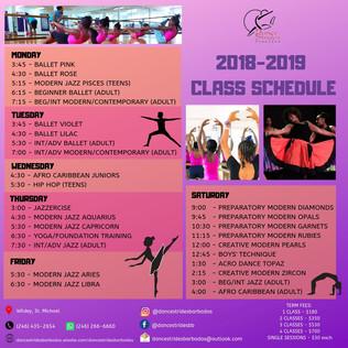 Class Schedule 2018 - 2019