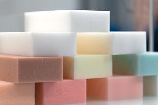 Samples of foam rubber component in furn
