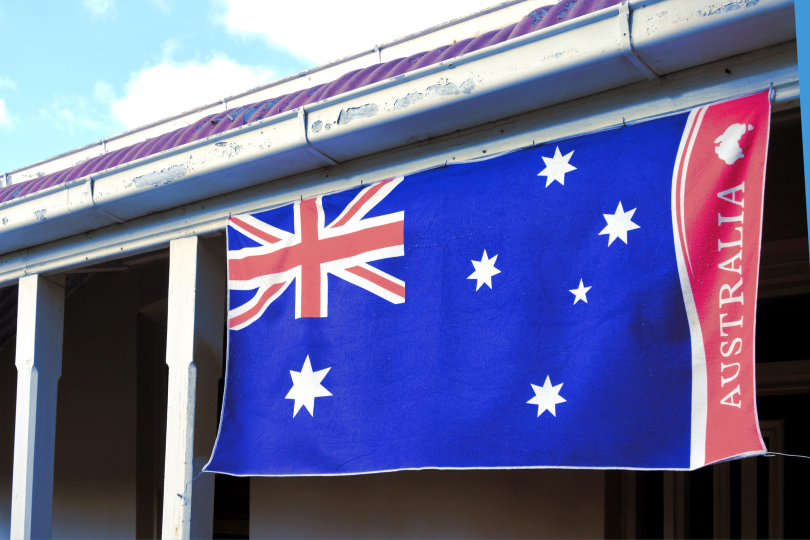 Flag of Australia on Australian house. C