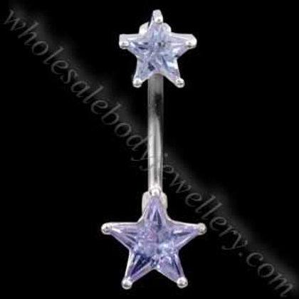 Double Stars Silver & Steel Navel (N079)