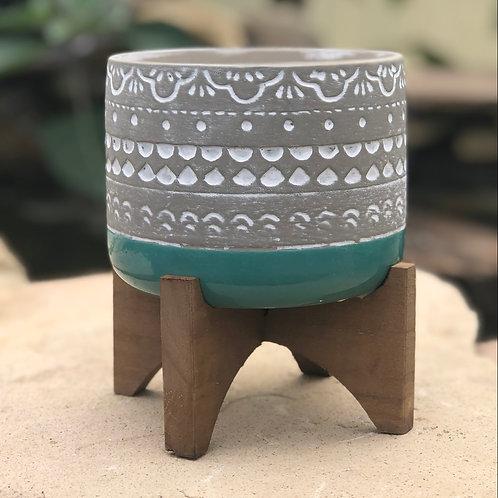 Turquoise pedestal pot
