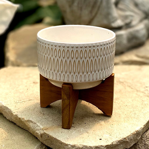 White planter with stand