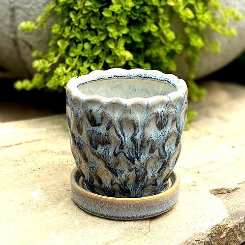 """Blue glazed pot 3"""""""