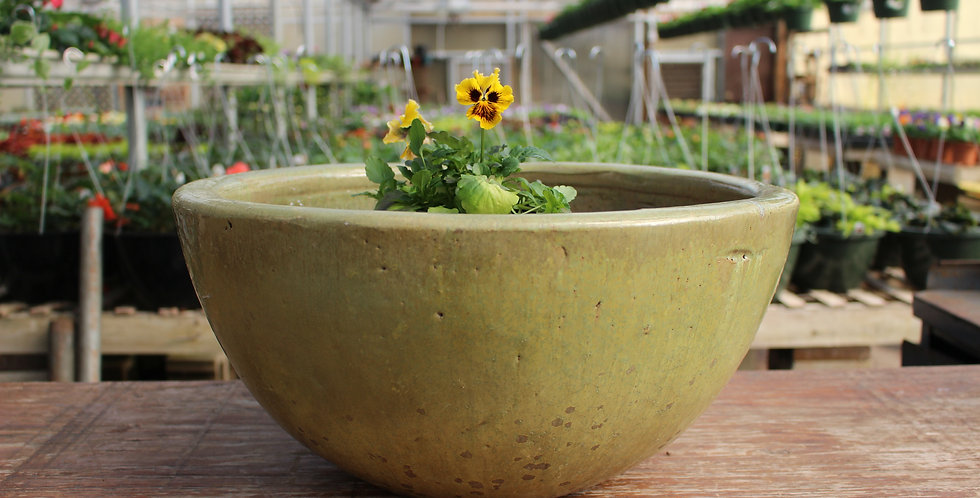 Large Green Glazed Pottery Bowl