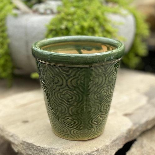 Glazed green pot