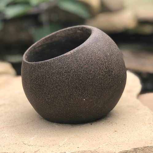 Brown orb planter