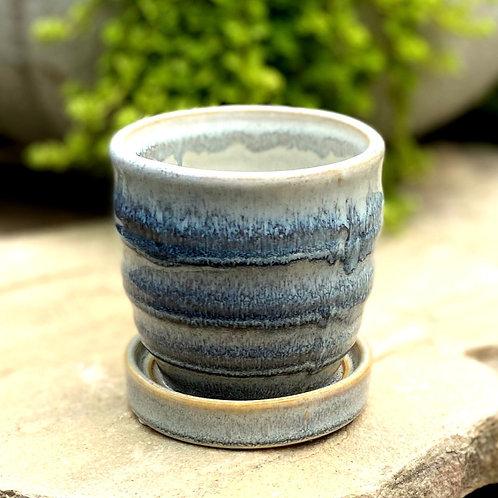 """White & blue glazed pot 3"""""""