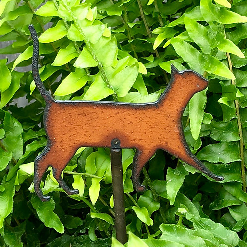 Sm. Iron walking cat garden stake