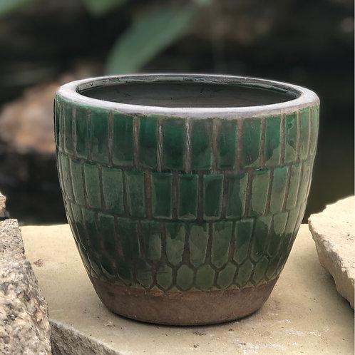 Green tile planter
