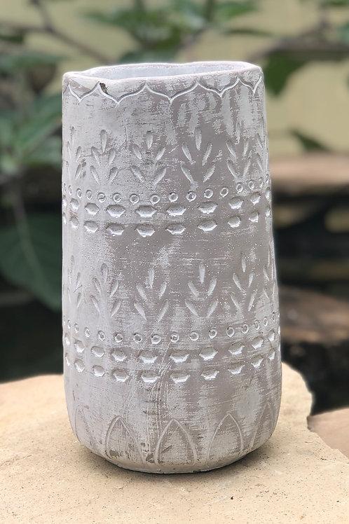 Lg white washed vase planter