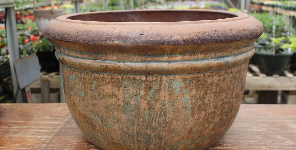 Extra Large Brown Turquoise Ceramic Pot