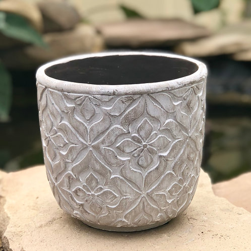 White washed clay pot