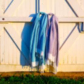 Turkish cotton/bamboo towels on a barn door.