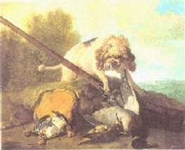 chien barbet attaque un canard JB Oudry