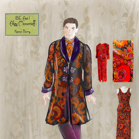 This dressing gown was upcycled from two vintage dresses from the 1960s.