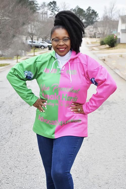 A4J  Pink and green hoodie Inauguration Vice President Kamala Harris