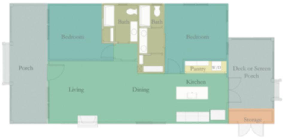 Ibis Floor Plan - 2 bedrooms and 2 bathrooms