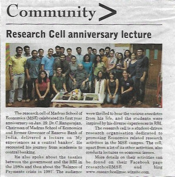 Research Cell Anniversary Lecture
