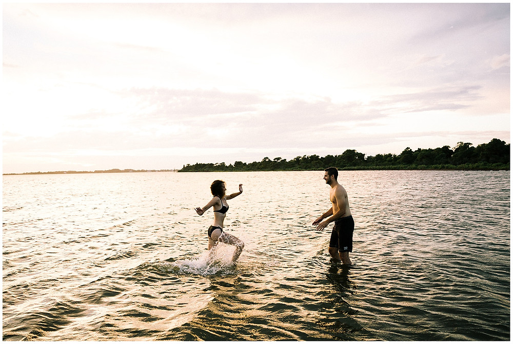couple playing in water