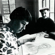 Priscilla and Christopher in the Art Cottage, 1974 Museum School poster photo. Note: Christopher also painted the water color banner on this page.