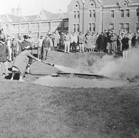Danvers Fire Fighters leading a demonstration to hospital staff in the 1960s of how to use fire extinguishers.