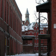 Cafeteria (left) Carpenter and Locksmith Building (right)
