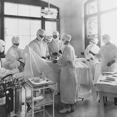 The hospital's surgery was located in a room designed for allowing in much natural light.