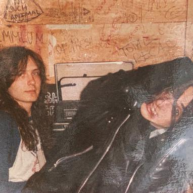 """Rob Fioretti and Jörg """"Tritze"""" Trzebiatowski (Kreator) 1987"""