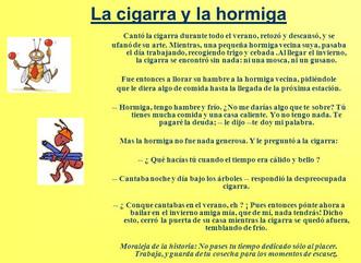 LA FÁBULA DE LA HORMIGA Y LA CIGARRA