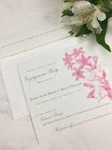 Engraved Floral Design on a Sweet Engagement Party Invitation