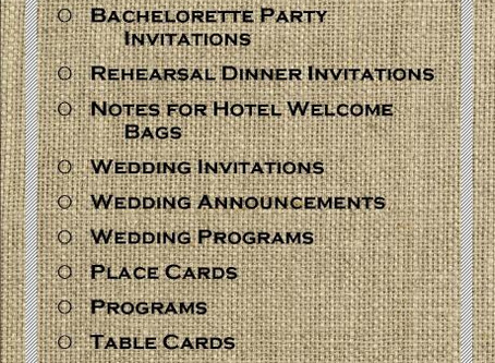 Wedding Stationery Checklist