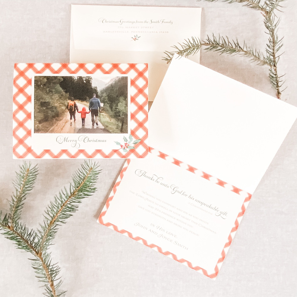 rustic plaid christmas card