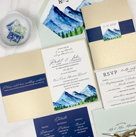 Hand Painted Watercolor Invitation for Bear Creek Mountain Wedding