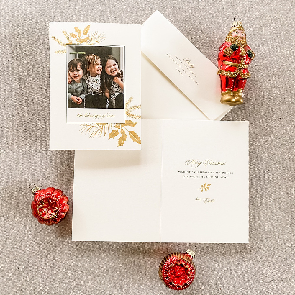 gold watercolor christmas card