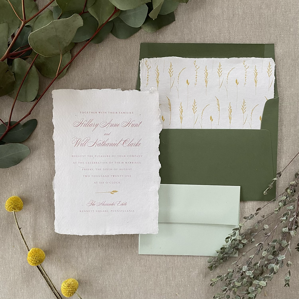summer meadow wedding invitation with handmade deckled edge paper