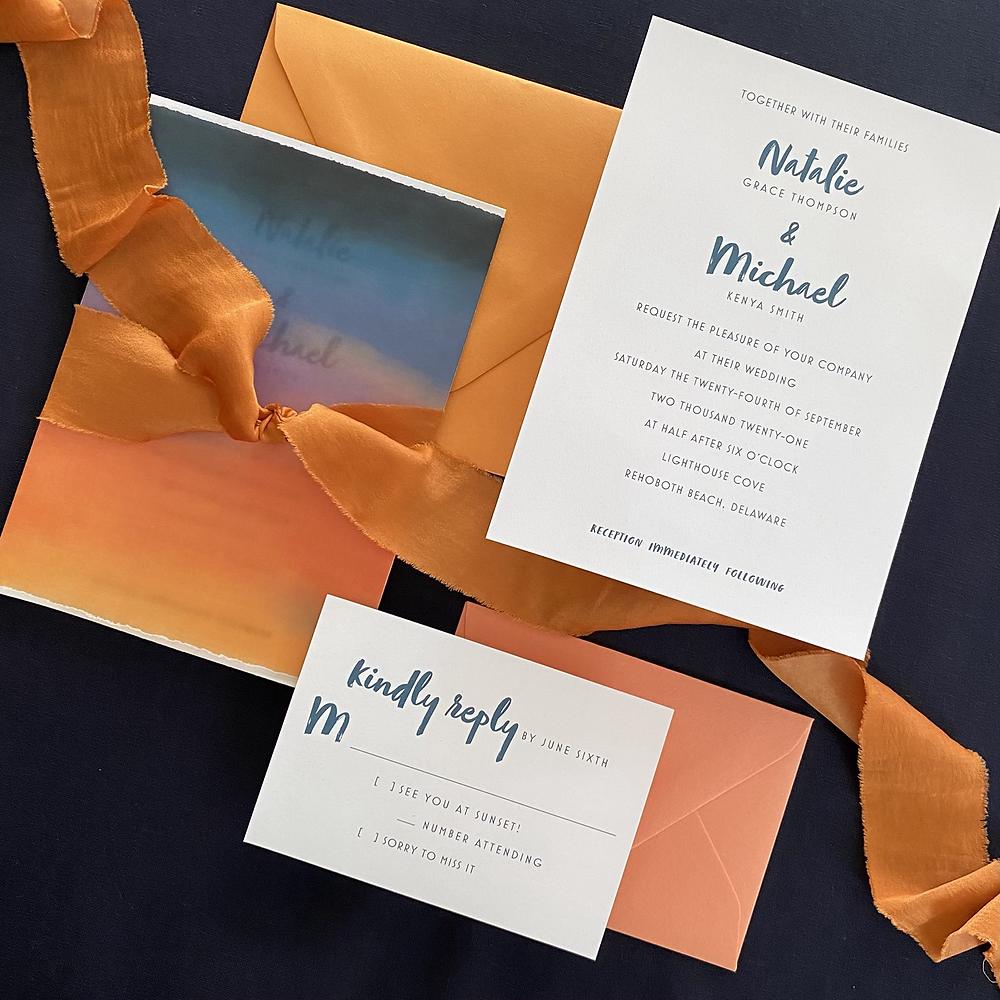summer sunset wedding invitation with silk ribbon