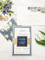 Navy and Gold Summer Wedding Invitation