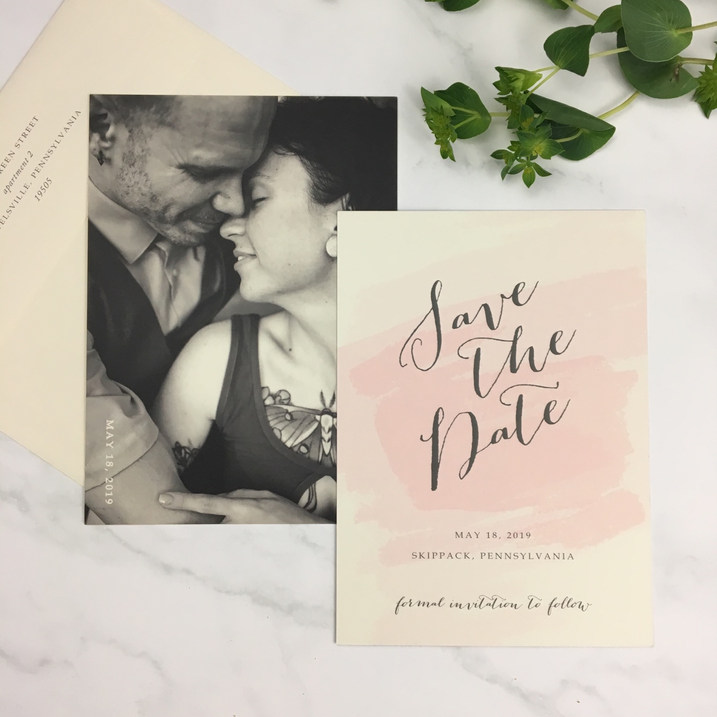 Blush, Ivory & Charcoal Save the Date