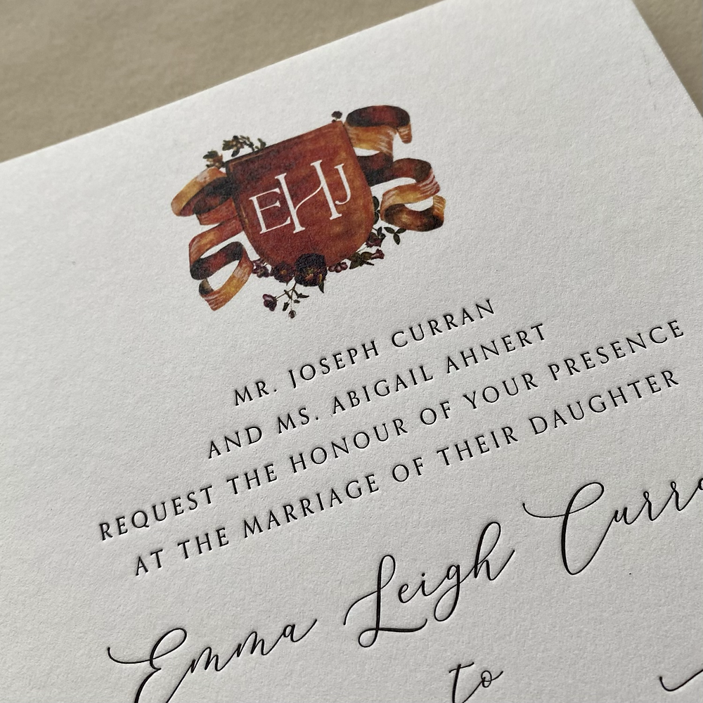 Letterpress printed wedding invitation