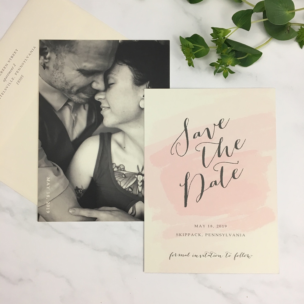 Digitally printed save the dates