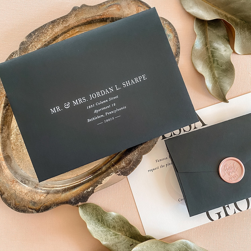Wedding envelope with white printing