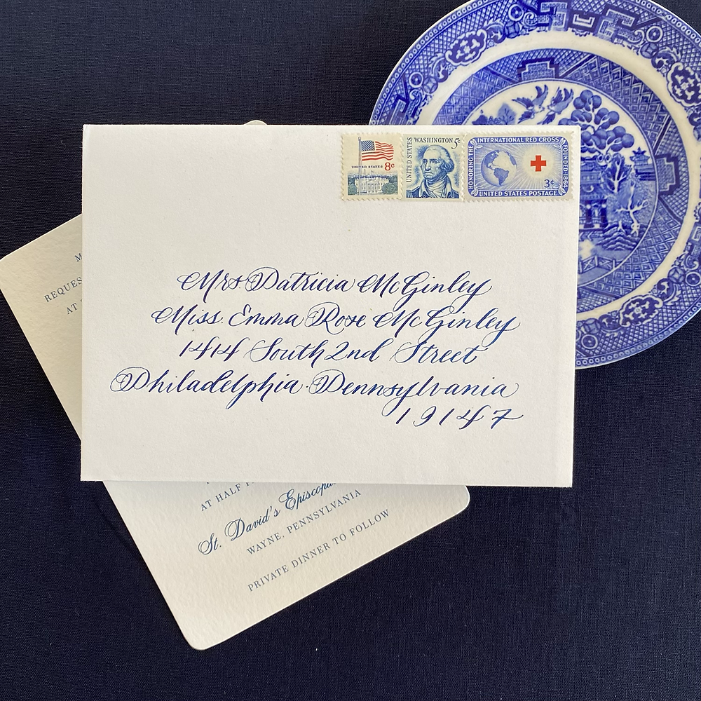 Hand calligraphed envelope with blue ink